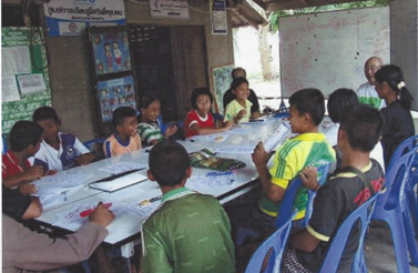 EPWF give tutoring classes to village students.